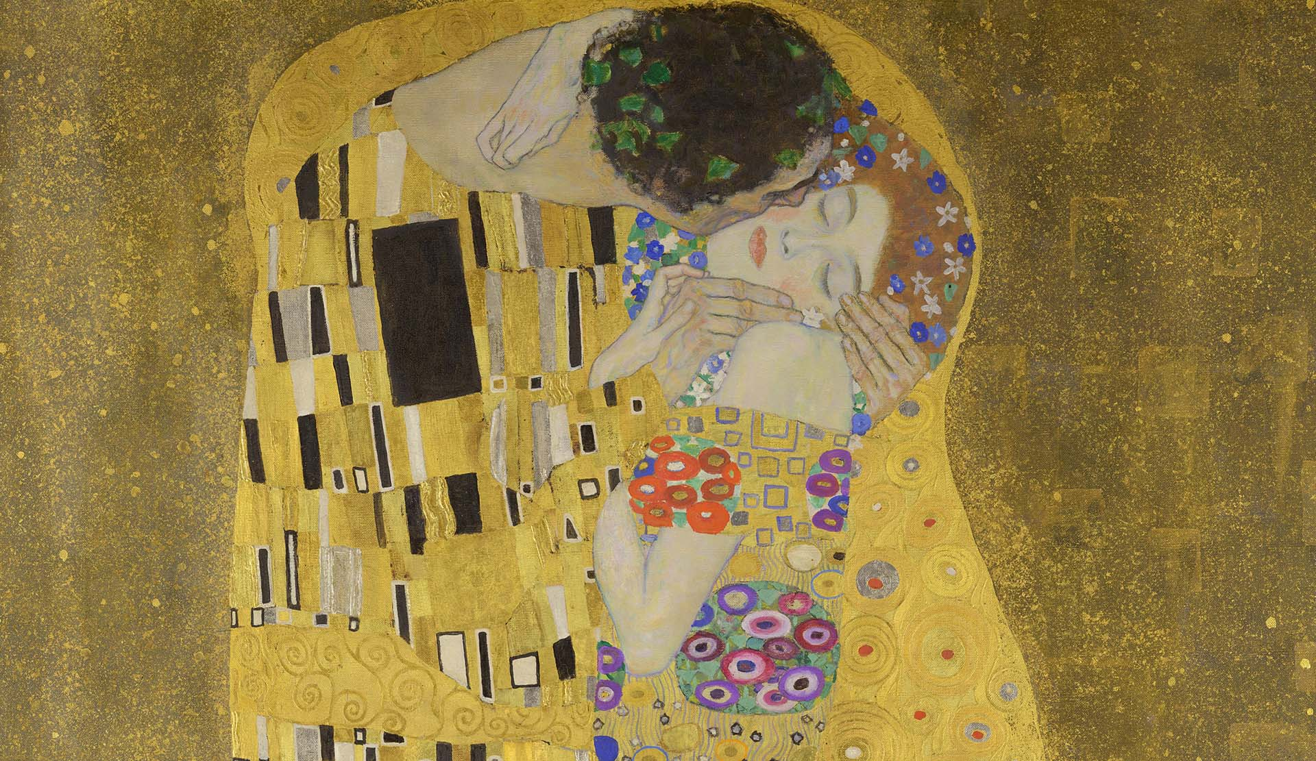 Klimt, The Kiss, detail of painting
